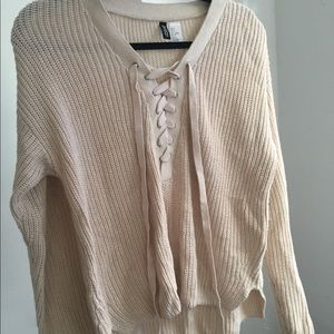 Lace up tan Sweater